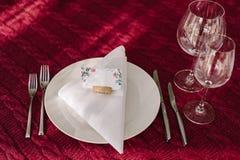 Ślubna stołowa dekoracja na pielusze Fotografia Stock