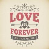 Ślubna typografii miłość ty na zawsze rocznika tła karciany projekt Fotografia Royalty Free