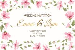 Ślubna zaproszenie łyszczec kwiatów granicy rama Zdjęcia Stock