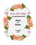 Ślubna zaproszenie karta, kartka z pozdrowieniami wektorowy kwiecisty greenery de royalty ilustracja