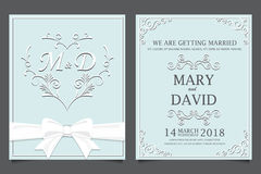 Ślubna zaproszenie karta, miłość i valentines, Obrazy Royalty Free