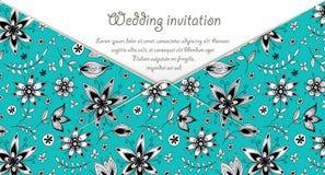 Ślubna zaproszenie karta z błękitnym kwiecistym wzorem Obraz Royalty Free