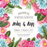Ślubna zaproszenie karta z malującymi kwiatami ilustracja wektor