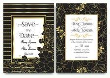 Ślubna zaproszenie karta z ręka rysującym kwiecistym szablonu collecti royalty ilustracja