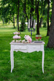Ślubne dekoracje Ślubny bukiet na rocznika tle w parku zdjęcia royalty free