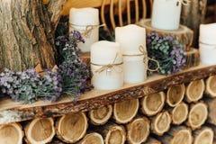 Ślubne dekoracje z świeczkami Obrazy Royalty Free