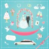 Ślubne ikony ustawiać Zdjęcia Royalty Free