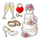 Ślubne ikony - zasycha, pierścionki, szkła szampan i kędziorek, Zdjęcia Stock