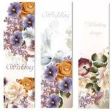 Ślubne karty ustawiać z kwiatami Obraz Royalty Free