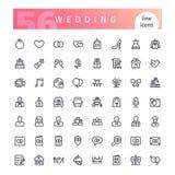 Ślubne kreskowe ikony ustawiać Obrazy Stock