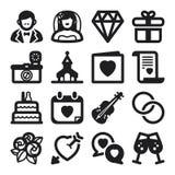 Ślubne płaskie ikony. Czerń Zdjęcia Stock