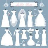 Ślubne suknie, akcesoria ustawiający Mody mieszkania sylwetka royalty ilustracja