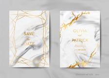 Ślubne zaproszenie karty, Save datę z modnym marmurowym tekstury tłem i złocistym geometrycznym ramowym projektem royalty ilustracja