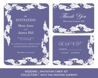 Ślubne zaproszenie karty ustawiać z tajlandzkim obrazem ilustracji
