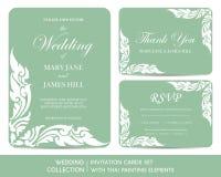 Ślubne zaproszenie karty ustawiać z tajlandzkim obrazem royalty ilustracja