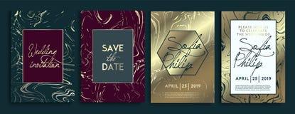 Ślubne zaproszenie karty z marmurowym tekstury tłem i złocistym geometrycznym kreskowym projekta wektorem Ślubny zaproszenie ramy royalty ilustracja