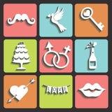 Ślubnego projekta Płaskie ikony dla sieci i Mobile.Vector royalty ilustracja