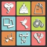 Ślubnego projekta Płaskie ikony dla sieci i Mobile.Vector ilustracji