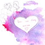 Ślubnego zaproszenia akwareli purpurowy tło Obraz Royalty Free