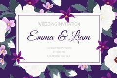 Ślubnego zaproszenia fiołka ropical purpurowi kwiaty royalty ilustracja