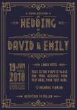 Ślubnego zaproszenie karty art deco stylu złocisty kolor na cyan tle z ramą Fotografia Royalty Free
