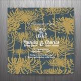 Ślubnego zaproszenie karty szablonów złotego kwiatu bezszwowy wzór ilustracji