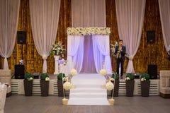 Ślubnej ceremonii sala przygotowywająca dla gości, luksus, elegancki ślub r Fotografia Royalty Free