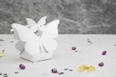 Ślubnej przysługi kształta motyli pudełko Obraz Stock