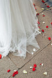 Ślubnej sukni i kwiatu płatki Obraz Stock
