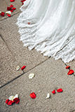 Ślubnej sukni i kwiatu płatki Fotografia Royalty Free