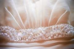 Ślubnej sukni szczegół Fotografia Royalty Free