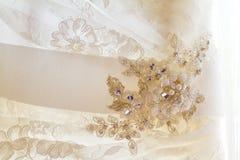 Ślubnej sukni zbliżenia szczegół Obrazy Stock