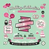 Ślubni elementy przylepiają etykietkę rocznika i obramiają Stylowe ikony Fotografia Royalty Free