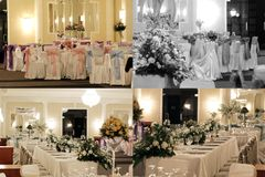 Ślubni sala balowa stoły, multicam, siatka 2x2, ekranizują rozłam w cztery częściach Zdjęcia Royalty Free