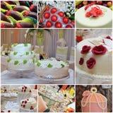 Ślubni torty i cukierki Zdjęcia Royalty Free