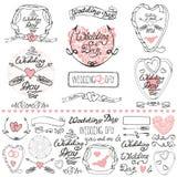 Ślubni wystrojów elementy ustawiający Etykietki, karty, zaproszenia kontur royalty ilustracja