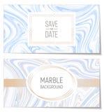 Ślubni zaproszenia z błękitnego atramentu Marmurowego papieru tekstury imitacją, suminagashi atrament plamią tło ilustracji