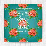 Ślubni zaproszenie karty szablony, kwiat róży okwitnięcie bezszwowy royalty ilustracja