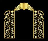 ślubny łękowaty brama szablon dla ciąć od winylu wystrój jest stylizowanym openwork wzorem royalty ilustracja