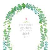 Ślubny łuk dziecka błękita eukaliptusowych gałąź projekta wektorowy fram ilustracja wektor