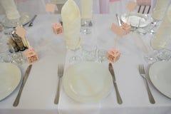 Ślubny bankieta stołu położenie Obrazy Royalty Free