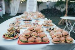 Ślubny bufet z różnorodnymi przekąskami i hamburgerami w naturze zdjęcia royalty free