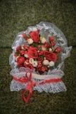 Ślubny bukiet kwiaty, ślubni temat, symboliczny miłość i romans zdjęcie stock