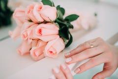 Ślubny bukiet, kwiaty, róże, piękny bukiet Obraz Stock