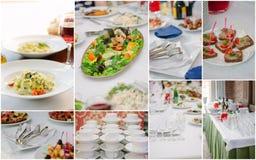 Ślubny cateringu kolaż - jedzenie i crockery dla próba gościa restauracji zdjęcia royalty free