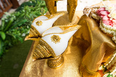Ślubny ceremonii Tajlandia ślubnej ceremonii Także dzwoniący podlewanie wznawia Obraz Stock