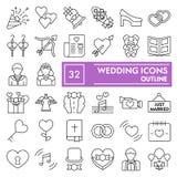 Ślubny cienki kreskowy ikona set, miłość symbole kolekcja, wektor kreśli, logo ilustracje, małżeństwo znaki liniowi royalty ilustracja