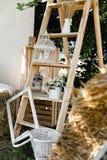Ślubny drewno decore zdjęcie royalty free