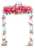Ślubny gazebo dekorował z czerwonymi różami i dwa całuje gołębiami na wierzchołku Zdjęcie Stock