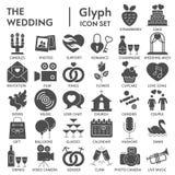 Ślubny glif PODPISUJĄCY ikona set, miłość symbole kolekcja, wektor kreśli, logo ilustracje, świętowanie znaki stali ilustracja wektor